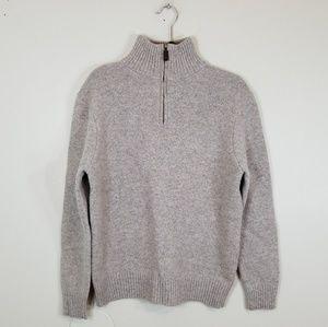 J Crew 100% lambs Wool Quarter Zip Cream Sweater